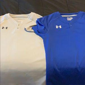 2 boys youth xl under armour heat gear shirts